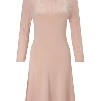 Nude Pointelle Knitted Dress - Dresses - Apparel