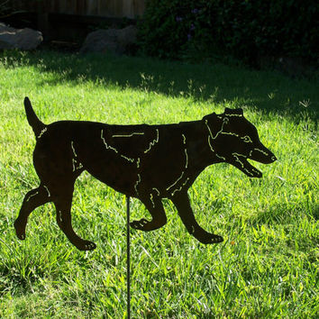 Unique Jack Russell terrier spring garden stake sculpture agility metal yard art gift / pet memorial