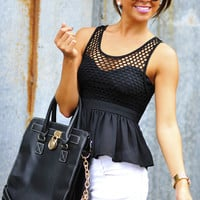 RESTOCK: Sweetest Girl Babydoll Tank: Black | Hope's