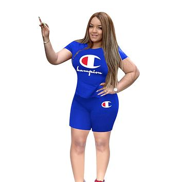 Champion tide brand women's short-sleeved shirt letter printing casual sports suit two-piece blue