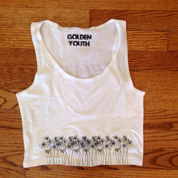 Flowers cropped tank top brandy Melville inspired printed graphic tee lightweight golden youth apparel