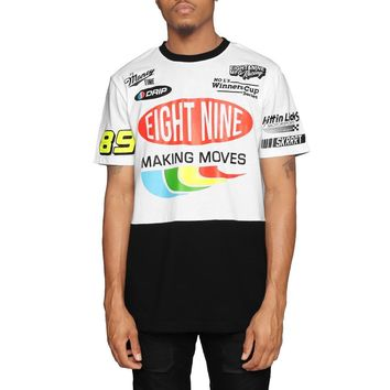 Making Moves Split Panel Racing Tee White