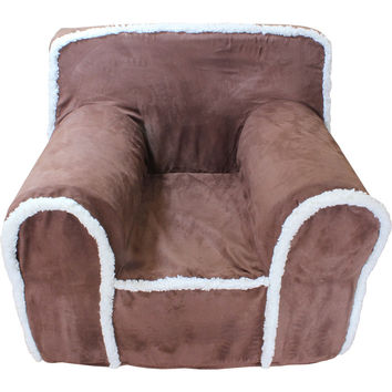 Chocolate Suede Sherpa Chair Cover for Foam Childrens Chair