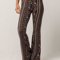 SKY AND SPARROW Floral & Stripe Womens Flare Pants