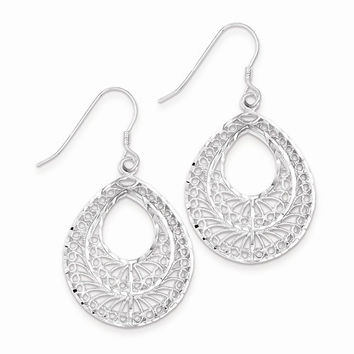 Sterling Silver Filigree Dangle Hook Earrings