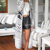 Aztec Longline Hooded Cardigan