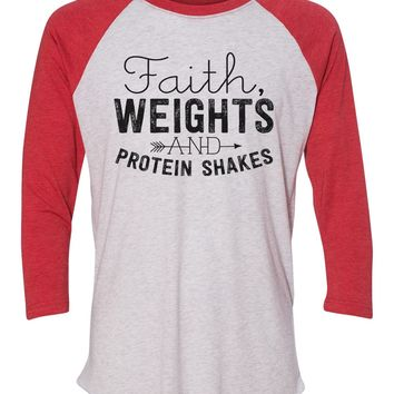 """Unisex Christmas Soft Tri-Blend Baseball T-Shirt """"Faith, Weights And Protein Shakes"""" Rb Clothing Co"""