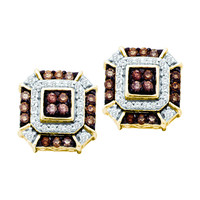 Cognac Diamond Fashion Earrings in 10k Gold 0.48 ctw