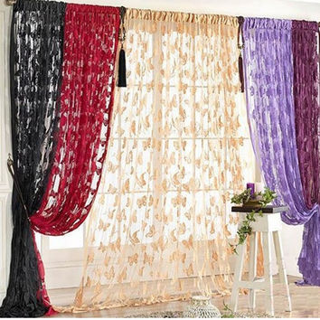 Butterfly Pattern Tassel String Door Curtain Window Room Curtain Divider Scarf = 1958247300
