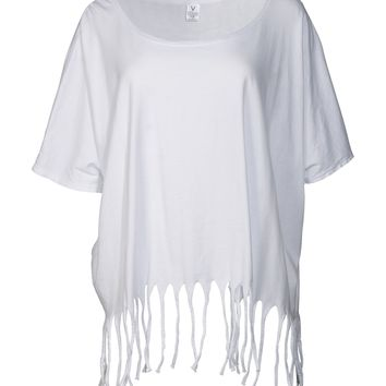 Tess Women's Fringe Cut Oversized Dolman T-Shirt Top