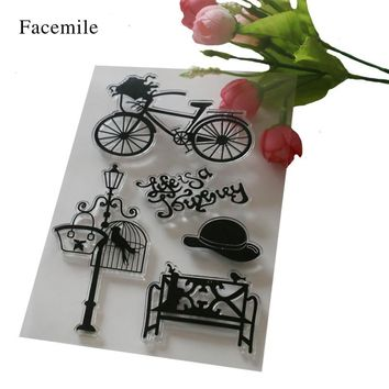 1PCS DIY Letters Floral Biycle Hat Chair Transparent Clear Rubber Stamp Seal Paper Craft Scrapbooking Decoration YS063
