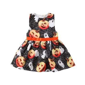 Newborn Kid Baby Girls Pumpkin Party Pageant Ghost Halloween Spider Web Sleeveless A Line Dress Clothes