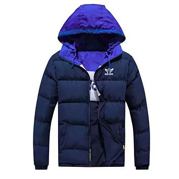 ADIDAS Newest Fashionable Women Men Casual Embroidery Print Long Sleeve Hooded Zipper Cardigan Jacket Coat(Two Side Wear Reversible) Blue