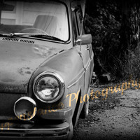 Vintage Car- black and white photography- volkswagen- headlight - dark- square back- vw - classic car 8 x 10 Print