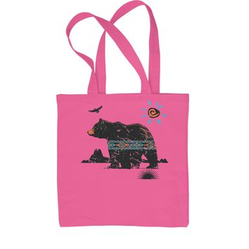 Native American Bear Southwest Shopping Tote Bag