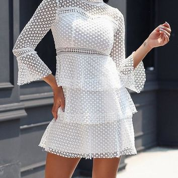 New White Patchwork Tiered Lace Round Neck Long Sleeve Mini Dress