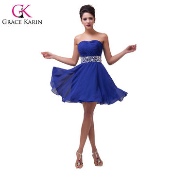 Navy Blue Prom dress 2016 Grace Karin Strapless Red Knee Length Crystals Chiffon Short Bridesmaid Dresses vestidos de dama