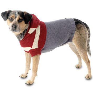 DCCKU3R Harley's Red & Grey Stripe Hooded Dog Sweater