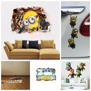 Minions movie wall sticker for kids room home decorations diy pvc cartoon decals children gift 3d mural arts posters wallpaper