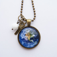 Planet Earth Necklace -  1 Inch Planet Pendant - Outer Space Jewelry - Globe necklace - Galaxy Necklace - You Choose Bead and Charm
