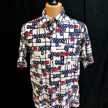 Vintage 70's Blue Abstract Sketch Pattern Indie Shirt L