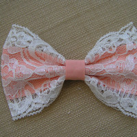 Peach and  lace Hair Bow Clip, kids hair bows, Teens, women, Fabric Bows, hair bow, Bow
