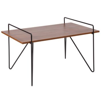 Porter Collection Wood Grain Finish Coffee Table with Metal Legs