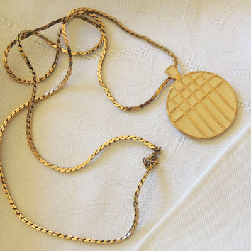 Vintage Monet Necklace, Cream Gemoetric Necklace, Modernist jewelry, Vintage Necklace, Costume Jewelry, Vintage Jewelry