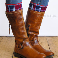 Grace & Lace Patterned Boot Cuffs™ (Plaid - Red & Navy)