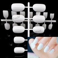24pcs New False Nails Lovely Candy Color Nail Plate Tips Acrylic Nails Small Round Head Fake Nails Pure White W-X