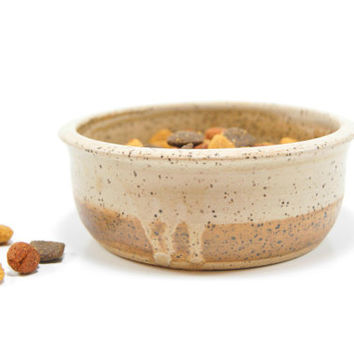 Small tan pottery dish - ceramic change dish - ceramic pet food bowl - cat food bowl - small water dish - pottery catchall - brown key bowl