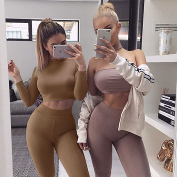 Autumn Winter 2 Two Piece Set Women Sexy Ensemble Femme long Sleeve Slim bra Crop Top +Leggings Pants Black Tracksuit Suit D1143