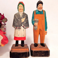 Hand Carved Wood Man and Woman Figurines Hand Painted Polychrome Folk Art Statuettes Vintage 1950's  Collectible Home Decor