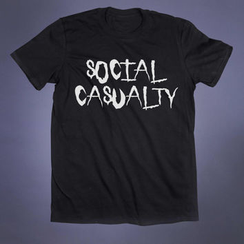 Anti Social Shirt Social Casualty Slogan Tee Grunge Punk Hipster Alternative Indie Tumblr T-shirt