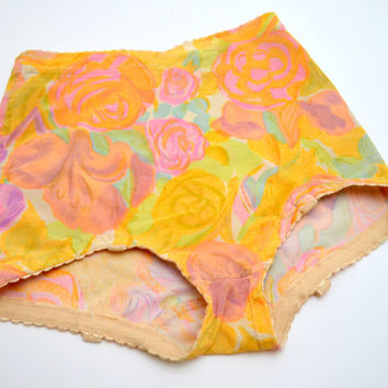 Vintage Vanity Fair Panty Girdle with Stocking Tabs, Vintage Shapewear, Pink and Yellow Nylon Spandex, Size Small, 1960s