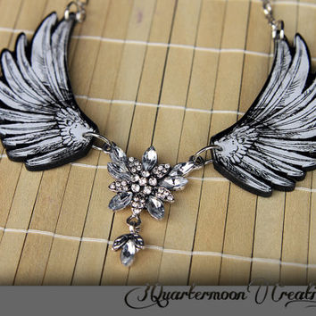 Angel Wings Acrylic Laser Cut Statement Necklace wtih Sparkling Center- Goth, Fantasy, Steampunk