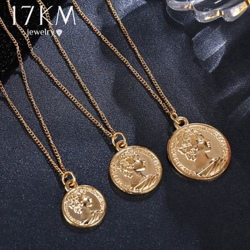 17KM Vintage Coin Pendant Necklaces For Women Fashion Figure Long Choker Necklace Gold Silver Color Statement Jewelry Gift