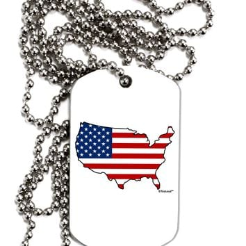 United States Cutout - American Flag Design Adult Dog Tag Chain Necklace by TooLoud