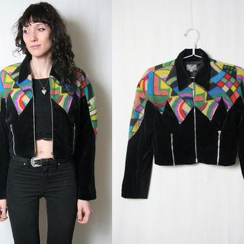 80s Fleece Western Jacket // Southwestern Jacket // Light Jacket // Size Medium // Cropped Motorcycle Jacket // 1980s 80s Jacket