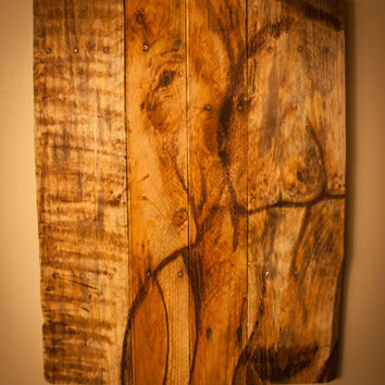 Elephant on Pallet Wood -Painted with Wood Stain on Reclaimed Repurposed Pallet Wood, indoor/outdoor, african animal nursery,kid room,safari