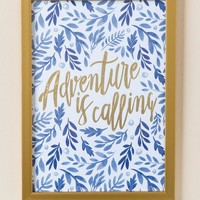 Adventure Is Calling Blue Floral Wall Decor