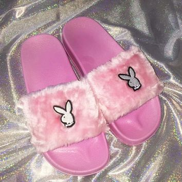 Play Boy Cute Rabbit Pink Slipper Fur Flat Slipper Women Slipper