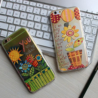 Painting Relief Sunflower Iphone Cases for 6 6s 6plus