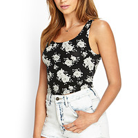 FOREVER 21 Cutout Rose Crop Top