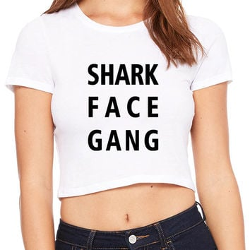 Macklemore And Ryan Lewis Shark Face Gang Title Crop T-shirt