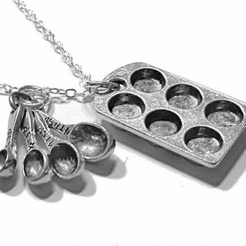 Cupcake Pan and Measuring Spoon Charm Necklace - cute miniature food muffin tin pendant for bakers