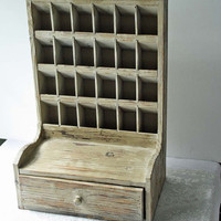 Cubby Shelf with Drawer Distressed Shabby by Cottonridgevintage