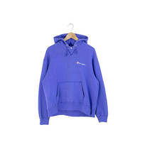 BLUE CHAMPION HOODIE // champion hooded sweatshirt / champion pullover / script / made in usa / 90s vintage / adult / medium large