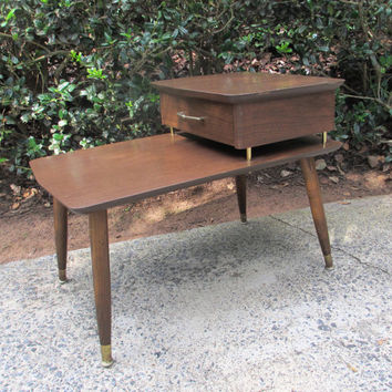 Mid Century Modern Nightstand Vintage Side Table Two Tier End