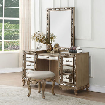 Acme 23797-98-99 3 pc Orianne antique gold finish wood mirrored fronts bedroom make up vanity